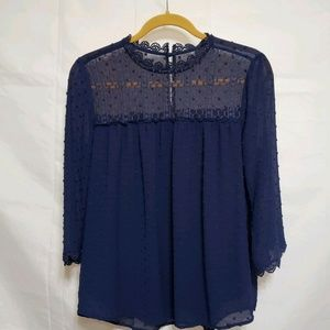 Adrianna Papell Blue Blouse Medium Crochet